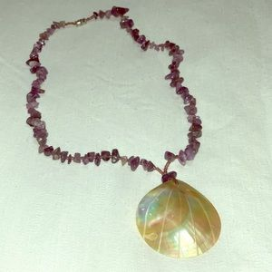 Purple beaded shell necklace